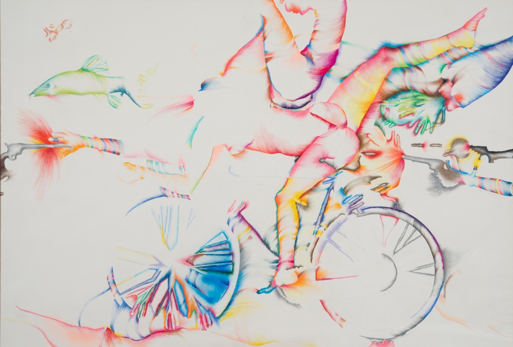 om pom marisol lick-the-tire-of-my-bicycle 1974 coloured pencil and crayon