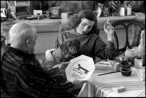om pom picasso with jaqueline Roque and Lump, David Douglas's dachshund