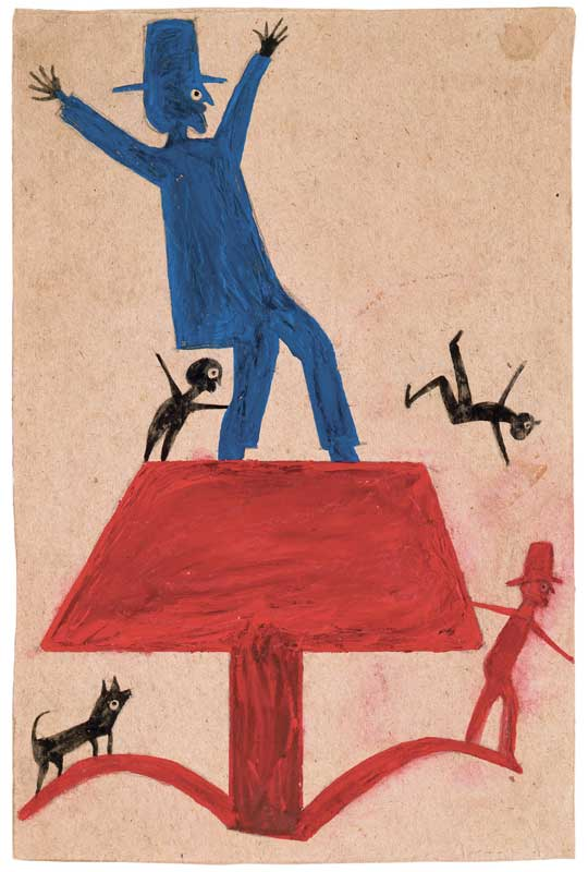 om pom bill traylor Blue Man on Red Objects poster paint and pencil on cardboard