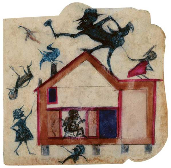om pom bill traylor House with Figures poster paint and pencil on cardboard