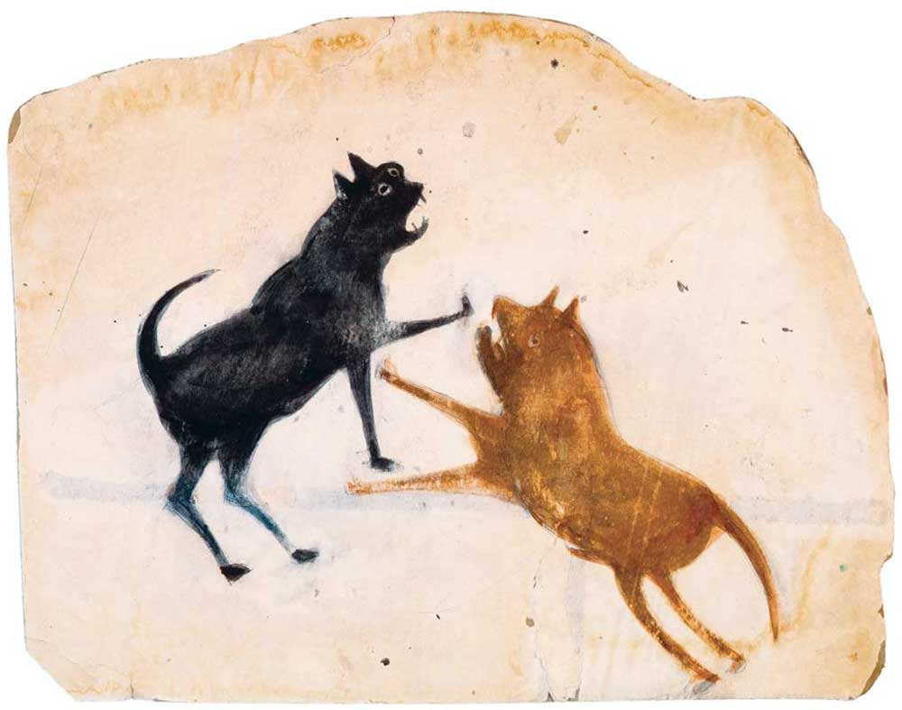 om pom bill traylor Two Dogs Fighting poster paint and pencil on cardboard