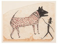 om pom bill-traylor-untitled-(dog-walking-man)