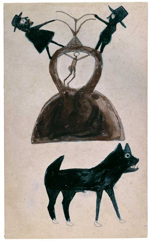 om pom bill traylor untitled graphite and ink on cardboard