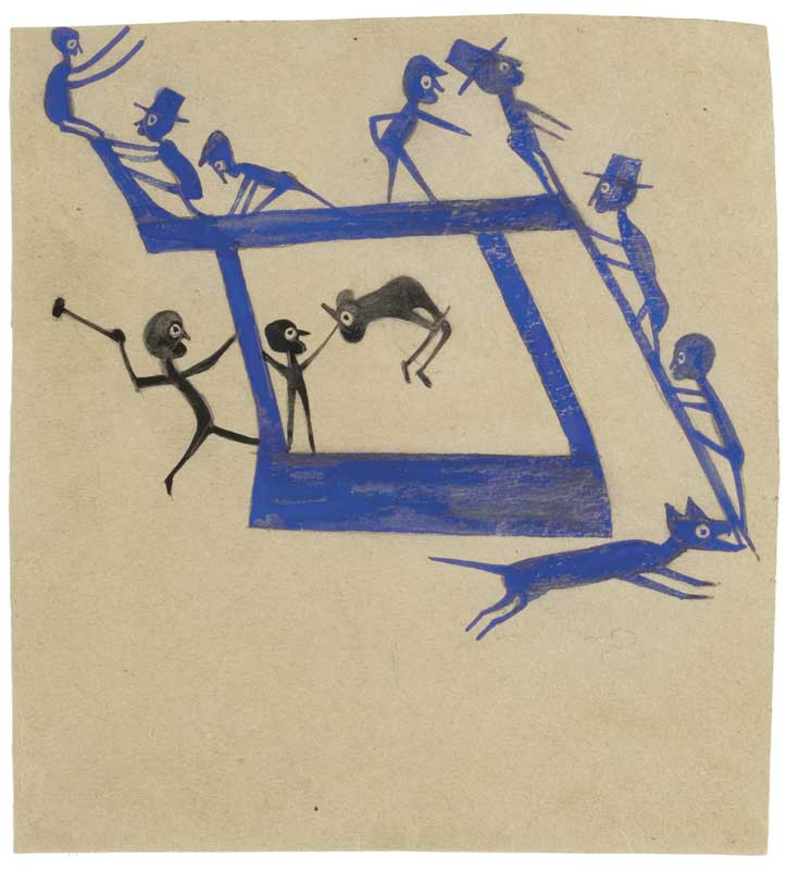 om pom bill traylor untitled watercolour and graphite on cardboard