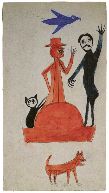 om pom bill traylor Waving Man poster paint and pencil on cardboard