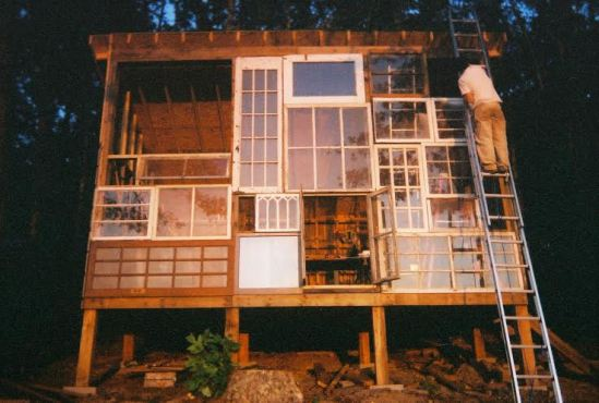 the handbuilt wood cabin of sustainable designer Lilah Horwitz and photographer Nick Holson