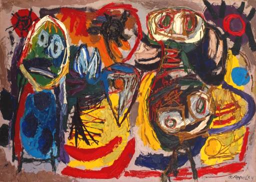 om pom karel appel people, birds and sun 1954