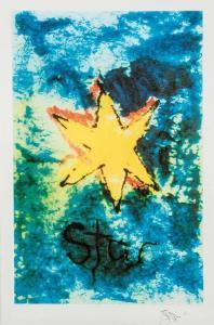 om pom david bowie star lithograph